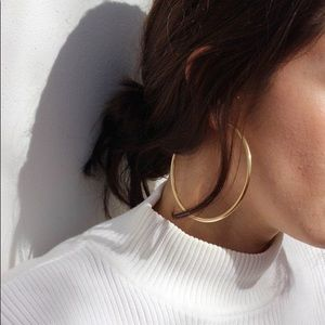 Golden Oversized Thin Hoop Earrings - Large